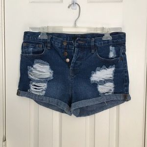 Forever 21 Distressed High-Waisted Shorts