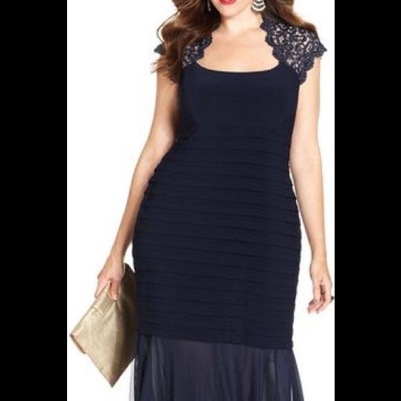 Xscape Dresses | 17780 Plus Size Glitterlace Mermaid Gown | Poshmark