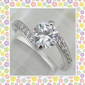 Jewelry - Size 4.5 white gold filled round cut CZ ring