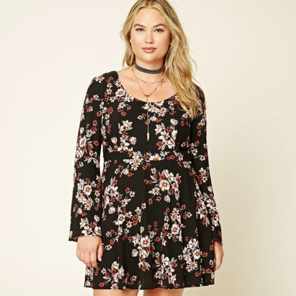 Forever 21+ Floral Bell Sleeve Dress Plus Size