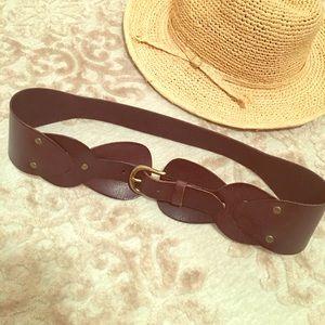 Linea Pelle Accessories - Linea Pelle Brown Leather Corset Belt, size L