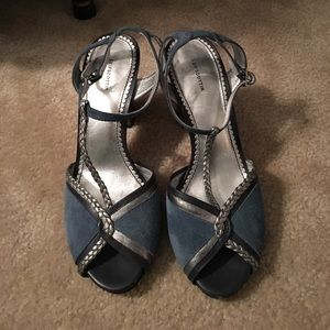 Anthropologie blue and silver heels