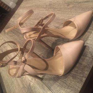 Tan pointed toe heels