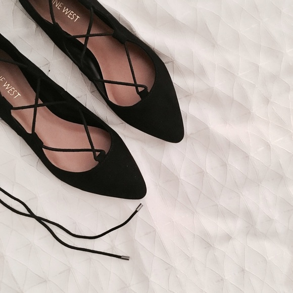 dff64aaac64 NEW • Nine West Black Lace Up Ballet Flats NWT