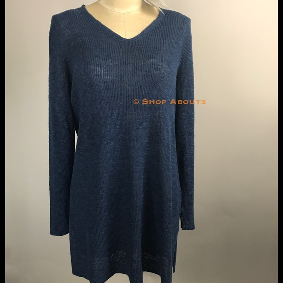 af0281905d2c Eileen Fisher Sweaters | Denim Blue Organic Linen Cotton Tunic ...