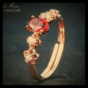 Lamoon Jewelry - Fine Silver Filigree RGP Garnet Ring With Diamonds