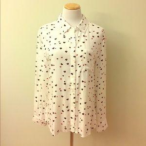 Rails Tops - Rails Hearts On Fire Button Down Shirt Size M