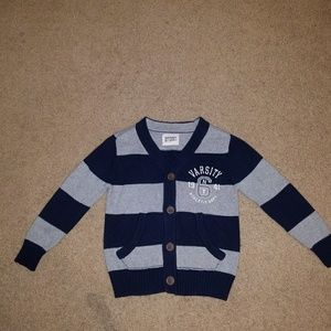 Old Navy Other - Old Navy Boy XS/5 Navy/Gray Stripe Cardigan