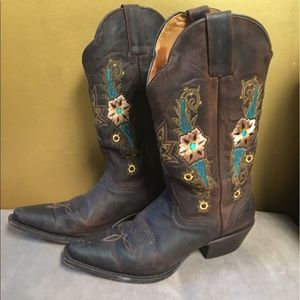 Shoes - Genuine leather riding cowboy cowgirl boots size 8