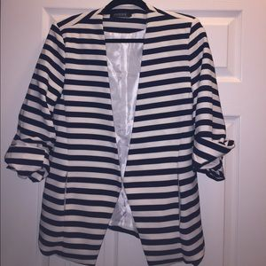 choies Jackets & Blazers - Choies White and Navy Striped Blazer