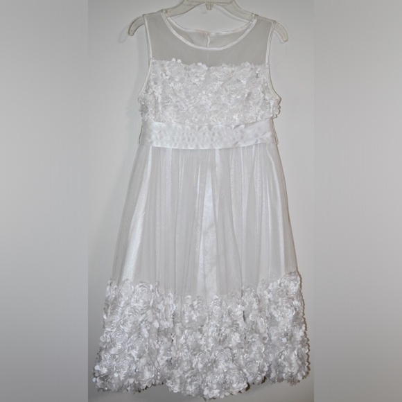 22bc452bd11 Bonnie Jean Other - Bonnie Jean Girls Size 14 White Dress with Flowers