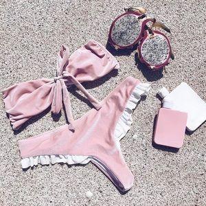 Pink Bow Velvet Bikini