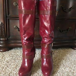 Sophia & Lee Shoes - Sophia & Lee Burgundy High heel knee-high boots