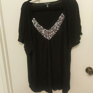 Cable & Gauge Tops - Silver sequin black T-shirt