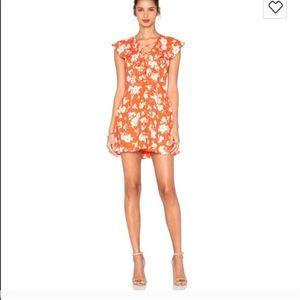 JOA Dresses & Skirts - Orange floral lace up dress