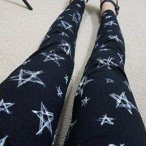 Forever 21 Pants - NWOT Black White Stars Pentagram Leggings Punk L