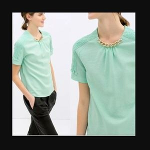 Zara Mint Green Chain Necklace Top
