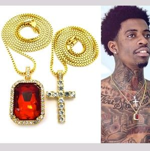 Other - ICED OUT HIP HOP GOLD CROSS & RED RUBY NECKLACE