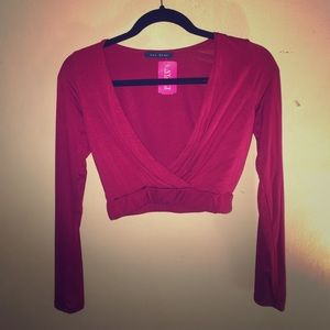 Nwt Wine/burgundy crop long sleeve top size small