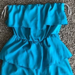 Lily Rose Dresses & Skirts - Teal Strapless ruffle dress