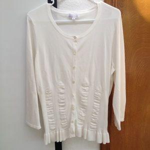 Joseph Allen Sweaters - White Long Sleeve Joseph A. Cardigan