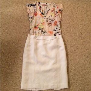 Loft white linen skirt (NWOT)