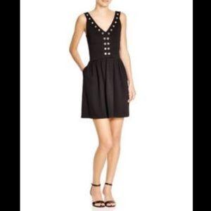 Aqua Dresses & Skirts - Aqua Black Ponte Grommet Double V Mini Flare Dress