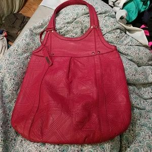 Joe's jeans leather tote bag pink