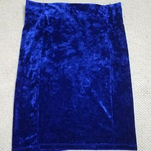 Forever 21 Dresses & Skirts - Blue Velvet Mini Pencil Skirt Unique Velveteen