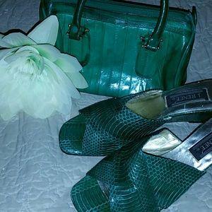 Handbags - Genuine Eel Skin Mini Satchel Purse