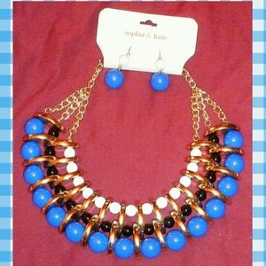 Sophia & Kate Jewelry - Blue/White/Black/Gold Choker Necklace & Earrings
