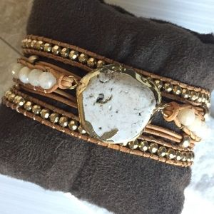 Jewelry - 🌼Multi Strand Leather Stone and Gold Bracelet