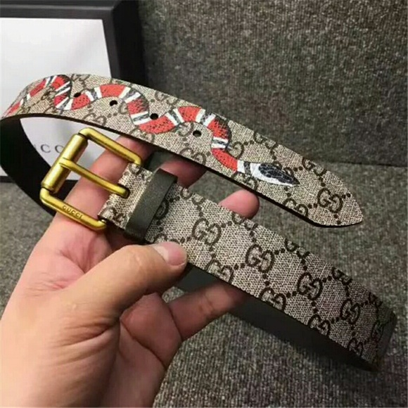ee6bb374f4 Gucci Snake Printed GG Leather Belt