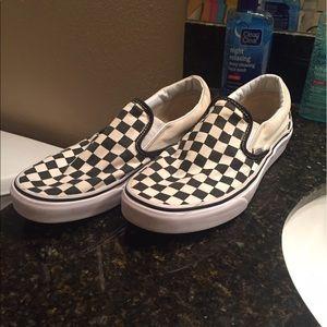 Checkerboard slip on vans men size 8