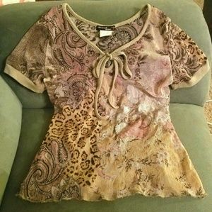 Just Cavalli Tops - Floral paisely leopard see through top S