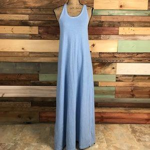lululemon athletica Dresses & Skirts - Lululemon Blue White Micro Stripe Maxi Dress - 10