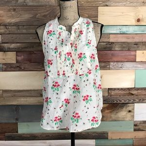 Anthropologie Tops - Meadow Rue Light Silk Cotton Floral Popover Tank