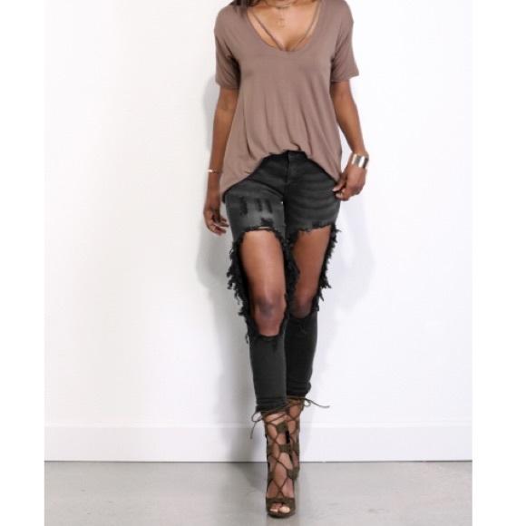 Windsor Jeans - Destructed Black Skinny Jeans