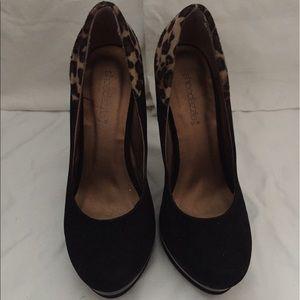 ShoeDazzle Shoes - Black leopard accent pumps