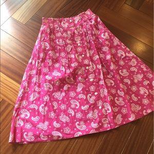 Vintage cotton paisley button down skirt