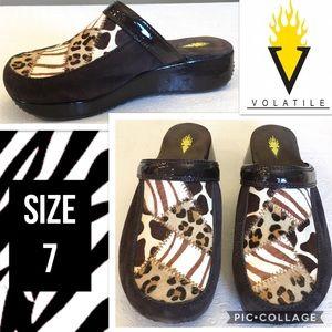 Volatile Shoes - Volatile Animal Print Wedge Mule/Clog Size 7