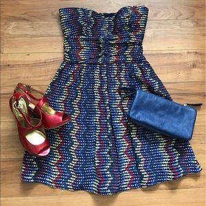 Parker Dresses & Skirts - Adorable Strapless Multi-Color Parker Silk Dress