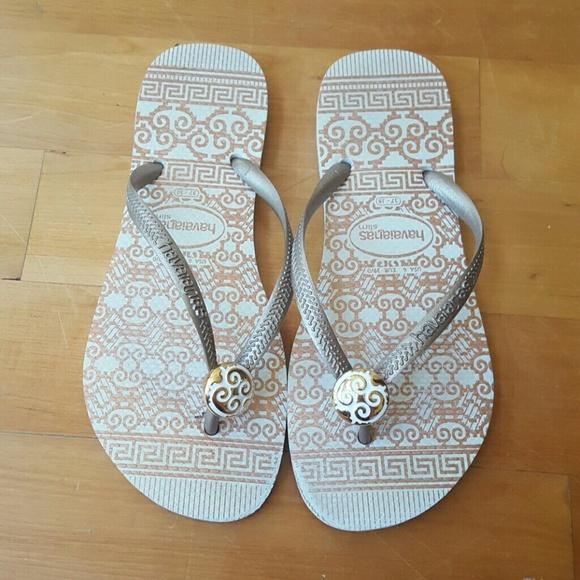 de44a3a42644 Havaianas Shoes - Size 7.5 (37-38) white gold Havaianas flip flops