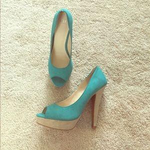 Flirty Peep Toe Teal heels by ELLE