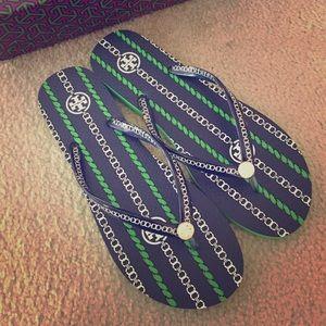 Tory Burch Shoes - Spring Green + Navy Sea Gemini Rope Flip-Flops