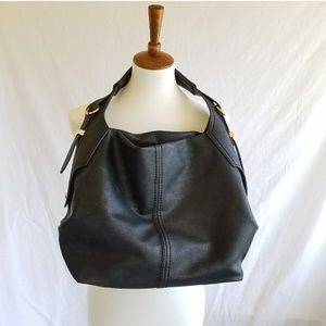 Black Vegan Slouchy Shoulder Bag