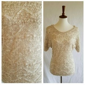 Maurices Cream Crochet Short Sleeve Top