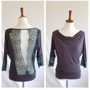 BKE Grey Sexy Lace Cut Out Top
