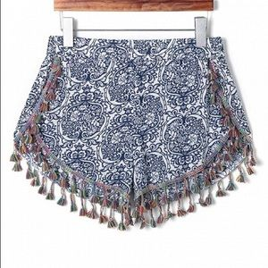 CHOISE Pants - Festival Shorts Blue and White and  Fringe