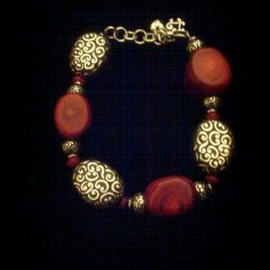 Brighton Other - Women's Silver & Red BRIGHTON Designer Bracelet